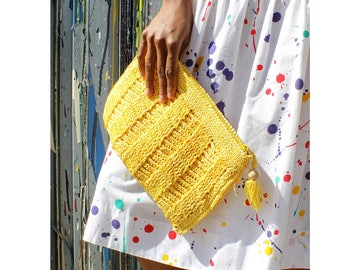 Vintage Clutch • Raffia Clutch Purse • Yellow Clutch Bag • 80s Clutch • Summer Clutch • Raffia Pouch • Raffia Purse | W446