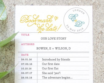 Library Card 'Save the Date' / Bookmark the Date / Storybook Wedding / Love Story with Custom Dates / Custom Colours Available / ONE SAMPLE