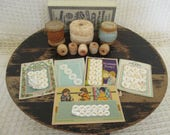 Vintage Sewing Notions - Mother of Pearl Buttons - Thread Spools - Clarks Thread Box - Craft Room - Studio Decor