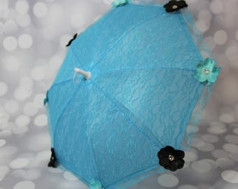 Blue Lace Flower Girl Parasol Sun Umbrella with Black and Blue Flowers, Child's Parasol, Young Girls Tea Party Sun Shade, Photo Prop,17073