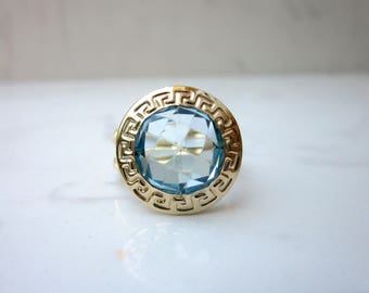 Estate 14k Yellow Gold and Round Cushion Cut Blue Topaz, Size 6