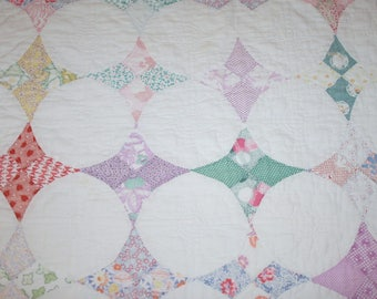 "Lovely Soft, Faded ""Hummingbird"" Vintage Quilt Piece with Dense Quilting Including Flowers — 22 x 22 Inches"
