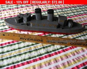 Christmas In July SALE Vintage  WWll Era Ship Washington 20 inches Wood Toy Destroyer Folk art