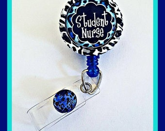 "Nursing Student Badge Reel Accessory ""Student Nurse"" Bottle Cap Retractable ID Name Tag, Unique Nurse Accessories, Gifts for Nursing School"
