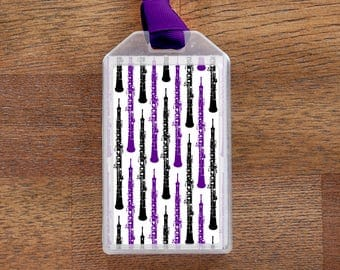 Oboe - Purple and Black Instrument Case ID or Luggage Tag for musicians