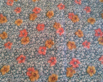 Brown and Orange Floral om Green Silky Synthetic Print 2 Yards X1165