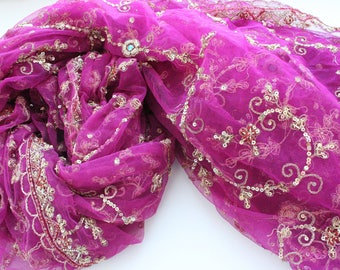 Indian vintage pink-purple net long embroidered dupatta . Zardozi scarf. Wedding, bridal stole. Hand embroidered scarf. SCM018