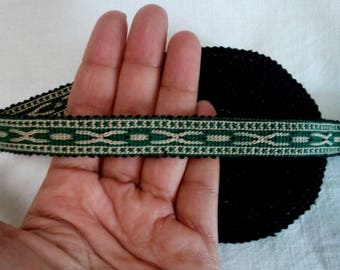 Uzbek handwoven green cotton trim Jiyak. Tribal ethnic, boho, hippy trim TRM002