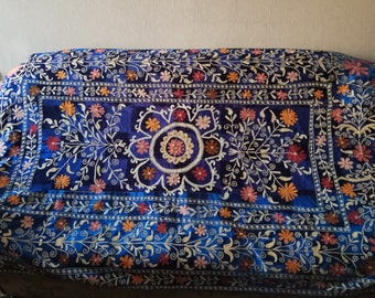 Vintage Uzbek silk embroidery on blue silk velvet suzani. Bed cover, wall hanging, home decor suzani SW061