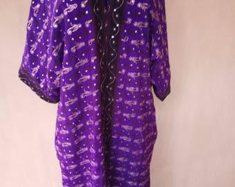 Crepe georgette embroidered kaftan. Violet kaftan, silk cardigan, silk robe, bohemian kaftan, tribal coat