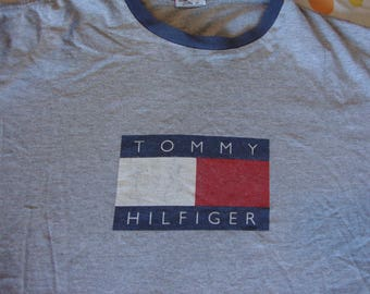 Vintage TOMMY HILFIGER big flag gray ringer 90's rap hip hop T shirt Adult size XL