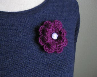 Crochet Flower Pin-Fuschia Flower Pin-Fuschia-Flower Brooch-Crochet Flower-Crochet Flower with Button-Crocheted Pin-Crochet Brooch