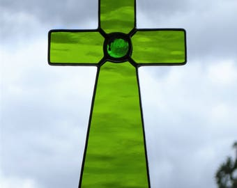 Stained Glass (Cross) in moss green rippling water glass