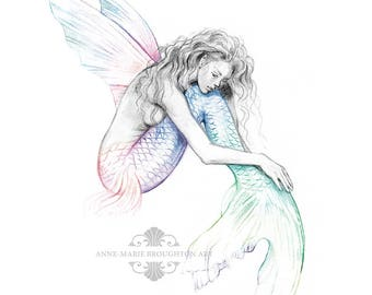8x10 inch PRINT Mermaid's Drift Flying Fish Mermaid with Wings Art Rainbow Colour Splash Tattoo Pencil Drawing Black and White Signed