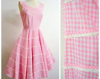 1950s Baby pink white gingham check cotton circle skirt summer dress / 50s checked tiered lace full sun dress - S