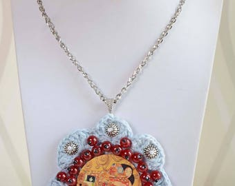 Boho Chic Handmade Crochet  Skyblu Pendant  Necklace