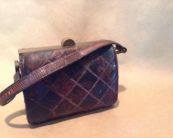 Vintage 1950s Brown Lizard Handbag