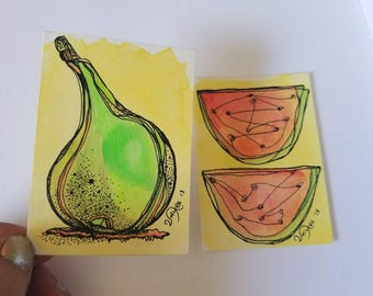 Summer Plate- SET of two original aceo drawings