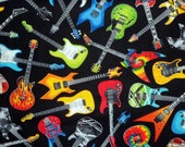 Fat Quarter Guitar Fabric Electric Guitar Fabric Musical Instrument Material Cotton Fabric Sewing Fabric Quilting Fabric Craft Supply