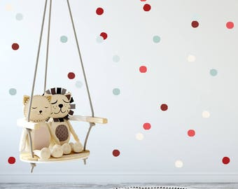Baby Nursery Wall Decals, Red & Teal Polka dots, Baby Nursery Wall Decal Kids Wall Decal Modern Nursery Wall Decal, Children room art decor