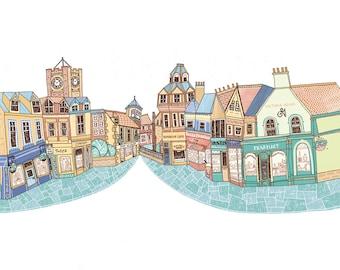 North Berwick High Street Illustration Print