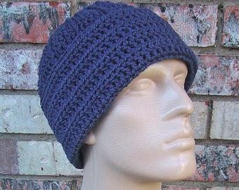 Mens Beanie - Hand Crocheted - Soft Acrylic Yarn Windsor Blue - Seamans Hat - Handmade - Warm Winter Cap - Sailor Beanie - Mens Size X-Large