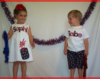 4th of July Sibling Set / Brother Sister Fourth of July / Independence Day Outfit