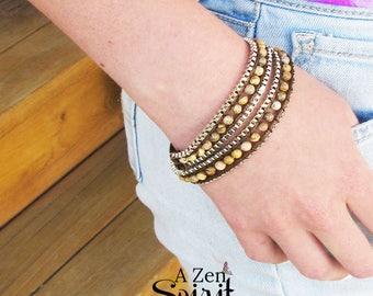 Jasper Stone Wrap Bracelet, Zen Jewelry,  Yoga Jewelry, Boho Jewelry, Jasper Choker