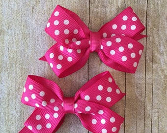 Hot Pink with White  Dots Boutique Bow Set
