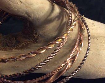 Tri- Patterned 5 Set of Copper Bangles