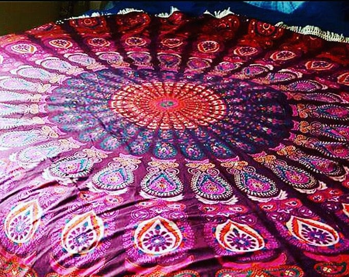 Pink and Purple Peacock Mandala Roundie with White Fringe Mandala Tapestry Beach Blanket Yoga Mat Meditation Mat Dorm Decor Hippie Tapestry