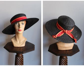 1930s Hat // Sunday Walk Da-Me Italian Hat // vintage 30s hat