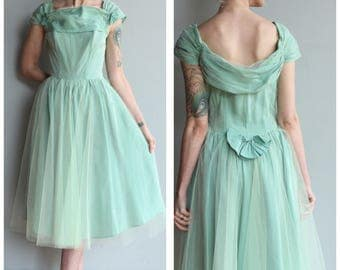 1940s Dress // Sea Glass Tulle Party Dress // vintage 40s dress