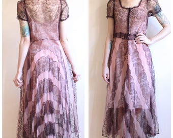 1930s Dress // Silk Lace Chevron Dress // vintage 30s dress
