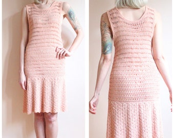 1930s Dress // Soft Pink Knit dress // vintage 30s drop waist knit dress