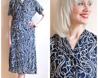 1940s 2pc Set // Whimsical Swirl Print 2pc Summer Suit // vintage 40s suit