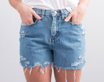 Reworked Denim Cutoffs * Distressed Cutoff Jean Shorts * Medium Wash * High Waisted * Size 4 – 6 / XS - Small / Waist 28 * FREE SHIPPING