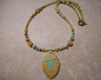 Yellow And Blue Turquoise Marquis Necklace