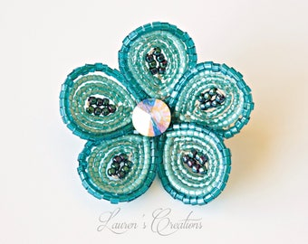 Teal French Beaded Flower hair clip with Swarovski element, Lauren H Creations accessories, turquoise wire wrapped seed bead flower hair pin