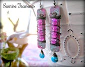 NEW Pink Moonstone Earrings, Genuine Turquoise Earrings, Rustic Wire Wrapped Boho Earrings, Patina Copper Earrings, Southwest Jewelry