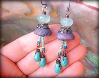 Rustic Organic Artisan Clay Earrings, Aqua Chalcedony Earrings, Genuine Natural Turquoise Earrings, Semi Precious Gemstone Jewelry