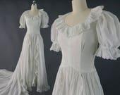 1930s Style Wedding Dresses   Art Deco Wedding Dress 1930s Organza Wedding Dress  Vintage Bridal XS $180.00 AT vintagedancer.com