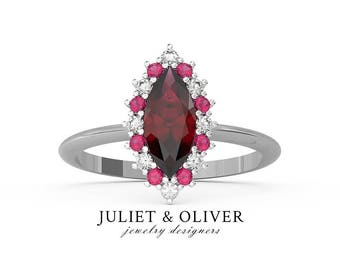 Garnet Engagement Ring - Marquise Halo Engagement Ring - Ruby Halo Ring - Ruby Diamond Ring - Ruby And Diamond Engagement Ring