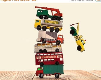 FLASH SALE til MIDNIGHT Vintage Stacked Matchbox Trucks Falling, Photo Print, Boys Room decor, Boys Nursery Prints
