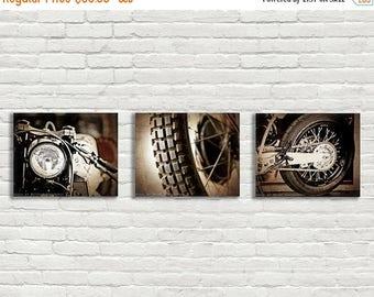FLASH SALE til MIDNIGHT Set of 3 Vintage Motorcycle Parts Closeup Brown Tones, Fine Art Photo Prints, Mod decor, wall art, motorcycle prints