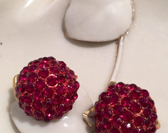 Rasberberry Rhinestone Clip Earrings