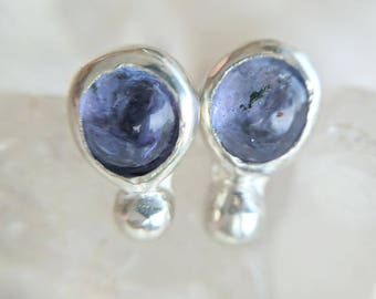 Tanzanite and Sterling Silver Stud Earrings - tanzanite studs - gemstone studs - boho earrings - blue and silver studs - simple earrings