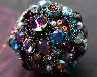 RESERVED - Payment 2 of 2 Vintage Crystals Rhinestones Ball Orb Sphere Encrusted Jewelry Ornament- Original Art Home Decor