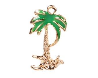 10 pcs. Palm Coconut Tree Gold Plated Enamel Charms Pendants - 17mm x 9mm