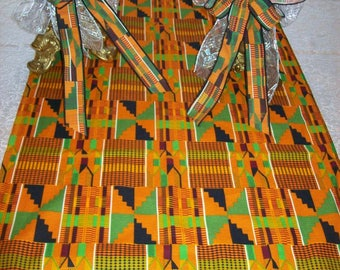 Kente #2 Table Runner with Fringe/ Kente print table cloth/ Kente cloth fabric for African Events/Decorate with Kente Cloth